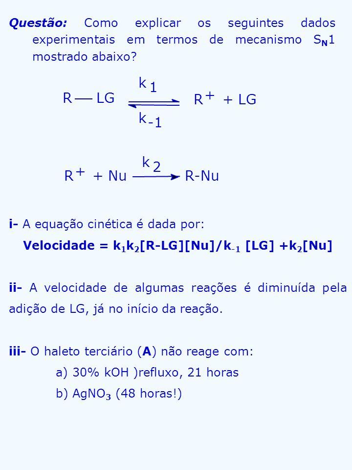 Velocidade = k1k2[R-LG][Nu]/k-1 [LG] +k2[Nu]